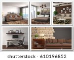 collage of modern home brown... | Shutterstock . vector #610196852