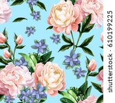 seamless pattern with peonies...   Shutterstock .eps vector #610199225