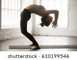 young attractive yogi woman... | Shutterstock . vector #610199546