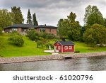Luxury house in finland with sauna near the river. - stock photo