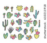 cute hand drawn traced vector... | Shutterstock .eps vector #610211918
