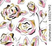 gold roses flowers set... | Shutterstock .eps vector #610217492