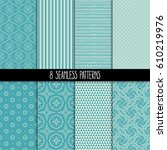 set of eight different... | Shutterstock .eps vector #610219976