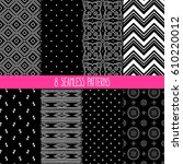 set of eight different... | Shutterstock .eps vector #610220012
