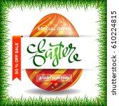 easter egg sale banner... | Shutterstock .eps vector #610224815