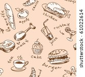 seamless pattern with food.... | Shutterstock .eps vector #61022614