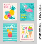 set of cute summer holidays... | Shutterstock .eps vector #610226318