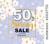 spring sale banner with flower | Shutterstock .eps vector #610227752