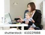 lovely young working mother and ... | Shutterstock . vector #610229888