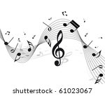 vector musical notes staff... | Shutterstock . vector #61023067