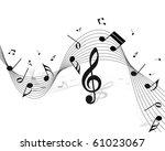 vector musical notes staff... | Shutterstock . vector #61023067