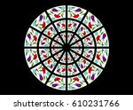 bright and colorful stained... | Shutterstock . vector #610231766