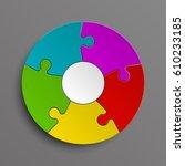 puzzle five color piece...   Shutterstock .eps vector #610233185