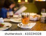 a glass of mint tea in a... | Shutterstock . vector #610234328