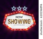 shining retro neon billboard.... | Shutterstock .eps vector #610236896