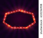 shining retro billboard.... | Shutterstock .eps vector #610236908