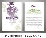 set of two art background wine... | Shutterstock .eps vector #610237742