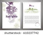 set of two art background wine... | Shutterstock .eps vector #610237742