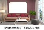 mock up poster frame in... | Shutterstock . vector #610238786