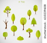 collection of trees | Shutterstock .eps vector #610239608