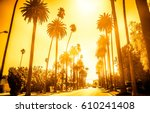 beverly hills street with palm... | Shutterstock . vector #610241408