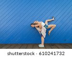 two girls playing and having... | Shutterstock . vector #610241732
