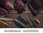 leather craft or leather... | Shutterstock . vector #610242032
