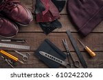leather crafting. tools flat... | Shutterstock . vector #610242206