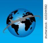 vector illustration of globe on ... | Shutterstock .eps vector #610244582