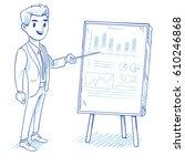 happy businessman explains... | Shutterstock .eps vector #610246868