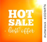 summer sale card with sun flare ...   Shutterstock .eps vector #610246976