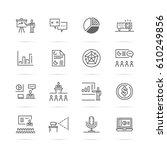 presentation vector line icons  ... | Shutterstock .eps vector #610249856