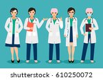 vector female doctor or smiling ... | Shutterstock .eps vector #610250072