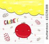 cute hand drawn red garnet...   Shutterstock .eps vector #610258388