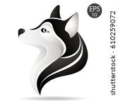 husky head profile logo. stock...   Shutterstock .eps vector #610259072