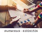 team businessman job . working... | Shutterstock . vector #610261526