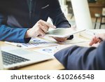 business team meeting working... | Shutterstock . vector #610266548