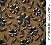 3d   copper flowers on a wooden ... | Shutterstock . vector #610269842