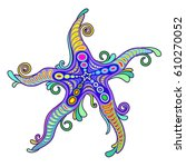 starfish tattoo style | Shutterstock .eps vector #610270052