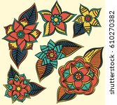 zentangle abstract flowers.... | Shutterstock .eps vector #610270382