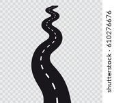 curved long road with white... | Shutterstock .eps vector #610276676