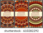 set of cards and invitation... | Shutterstock .eps vector #610282292
