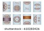 set template of postcards with... | Shutterstock .eps vector #610283426
