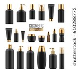set of black cosmetic packages... | Shutterstock .eps vector #610288772