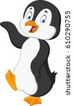 cute penguin cartoon waving | Shutterstock .eps vector #610290755