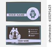 business cards design. vector... | Shutterstock .eps vector #610291625