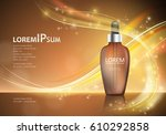 serum essence with dropper on... | Shutterstock .eps vector #610292858