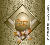 happy easter card  with golden... | Shutterstock .eps vector #610296098