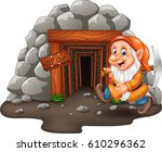 cartoon mine entrance with... | Shutterstock .eps vector #610296362