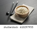 Wooden Bowl With Rice And...